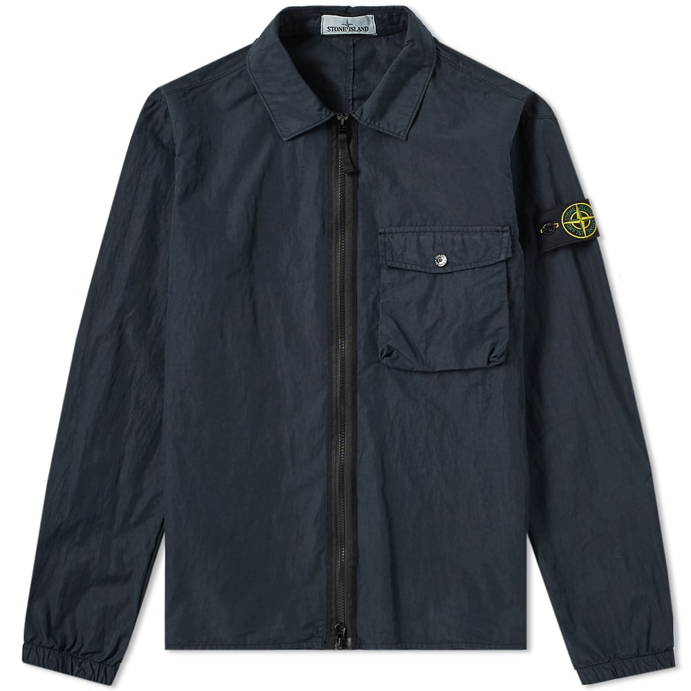 c9a0801307a Stone Island Garment Dyed Zip Pocket Overshirt Navy