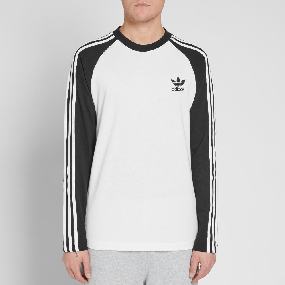huge selection of 72b3a 8199b Adidas Long Sleeve 3 Stripe Pique Tee Black   END.