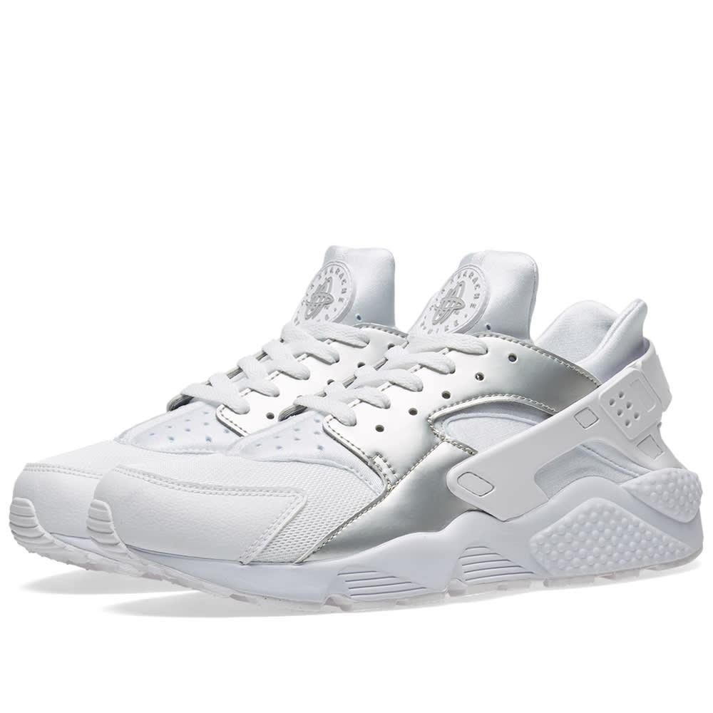sports shoes 79784 5ca19 Nike Air Huarache White   Metallic Silver   END.