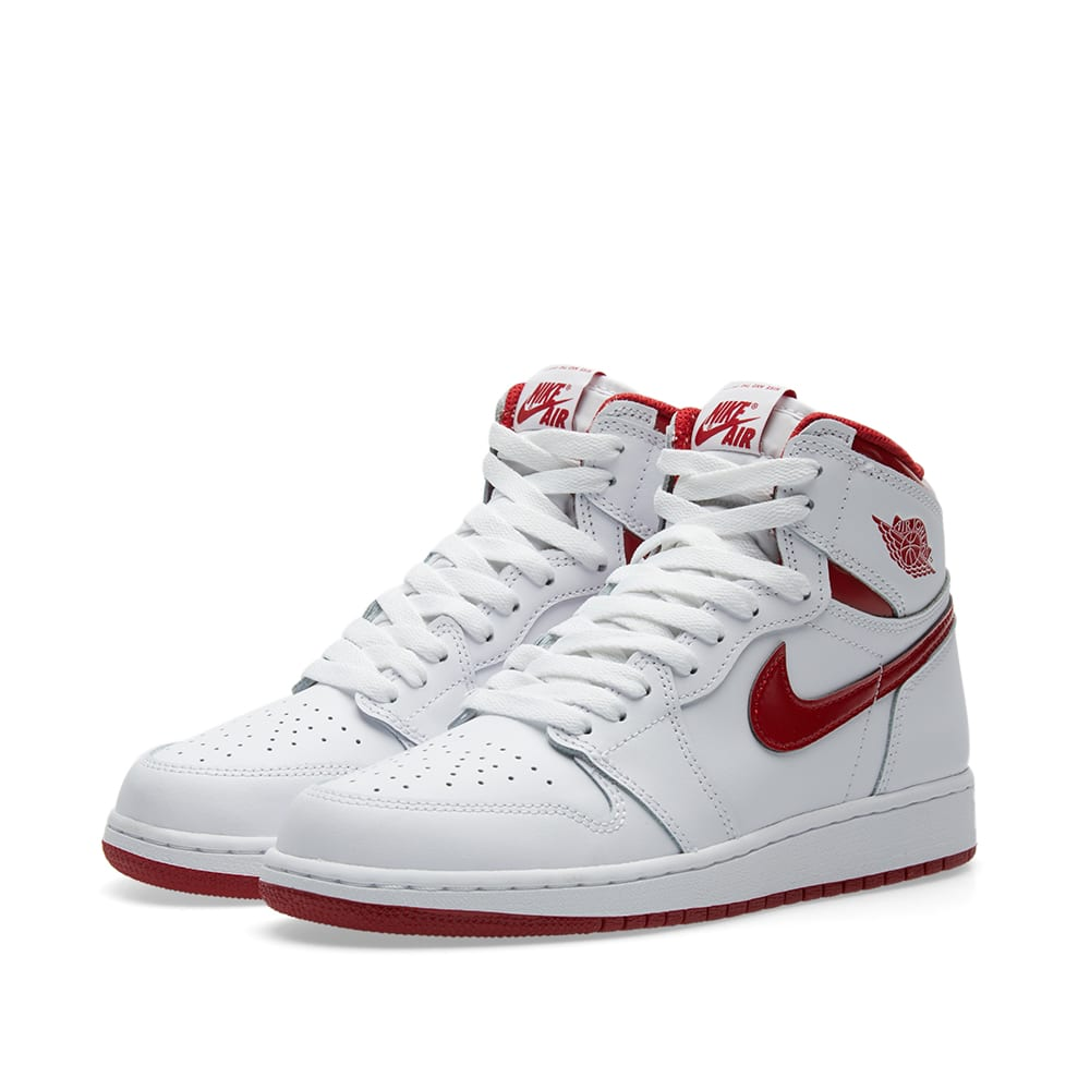 44951dd629f2c0 Nike Air Jordan 1 Retro High OG BG White   Varsity Red