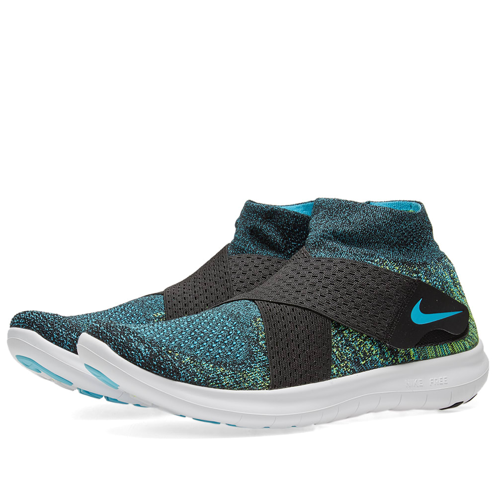 finest selection 1aee8 421c9 Nike Free RN Motion Flyknit 2017 Black, Volt   Blue   END.