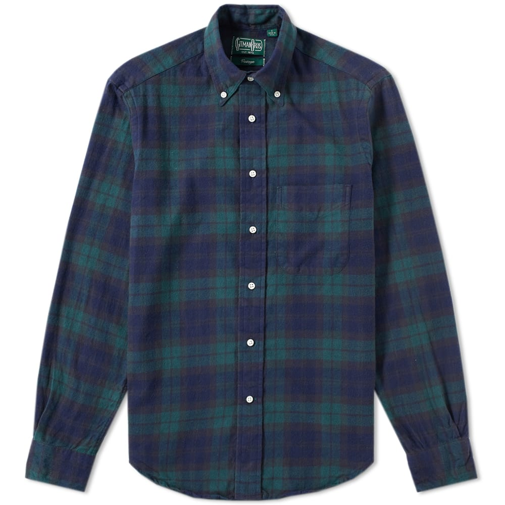 Gitman vintage plaid flannel shirt blackwatch for Black watch plaid flannel shirt