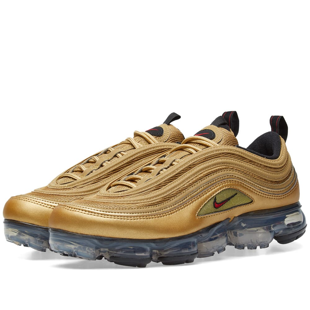 the best attitude d8a37 ed1e2 Nike Air VaporMax  97 Metallic Gold   Varsity Red   END.