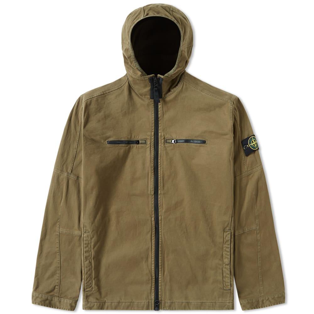 Stone Island Garment Dyed Hooded Overshirt (Military Green)
