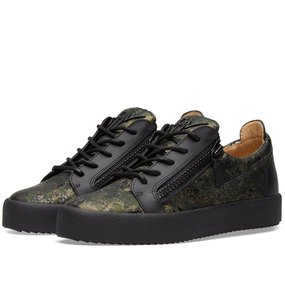 8d9b291bf9023 Giuseppe Zanotti Double Zip Leather Low Sneaker Camo | END.