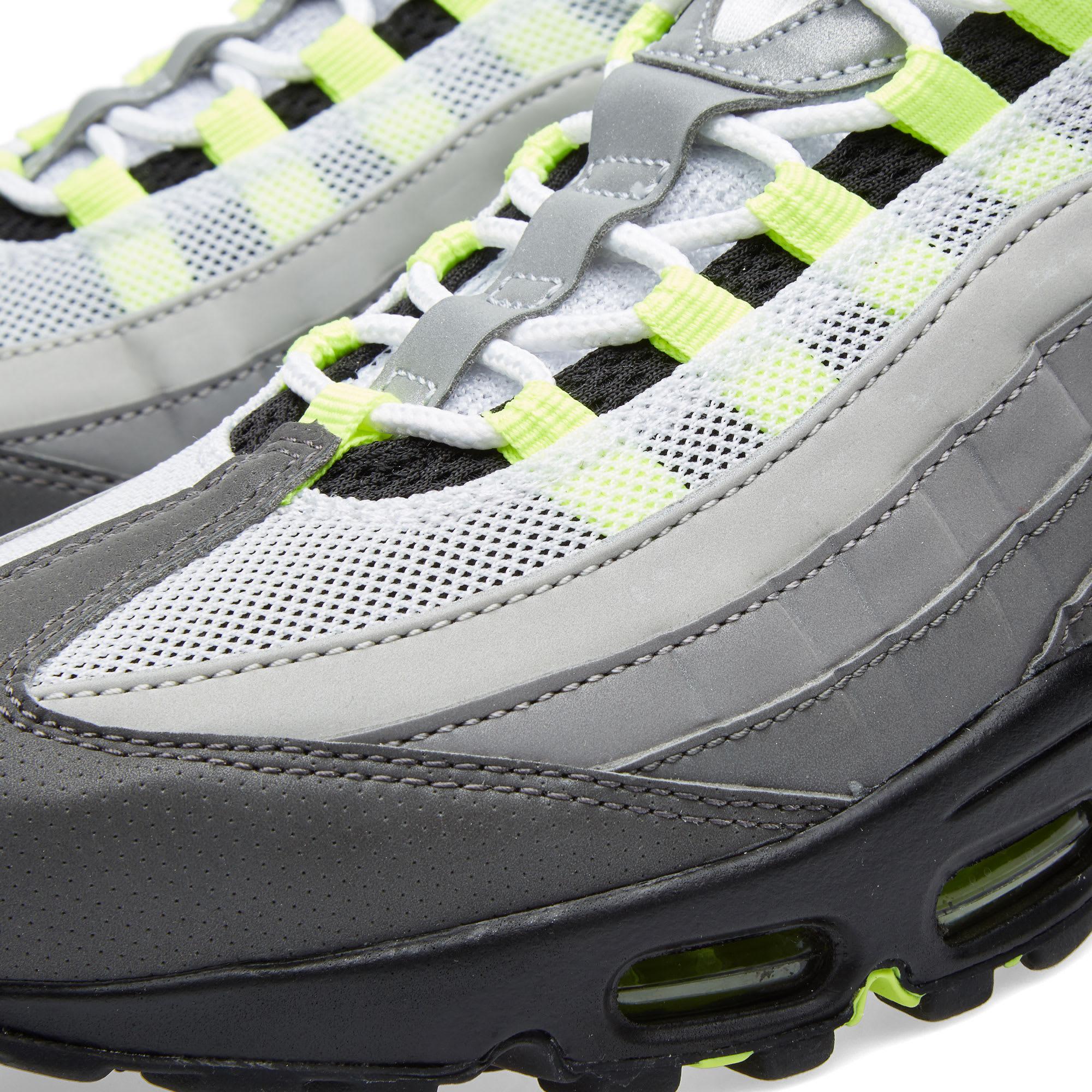 uk availability f589b 25b18 Nike Air Max 95 OG Premium Leather  Reflective  Black, Volt   Medium Ash    END.
