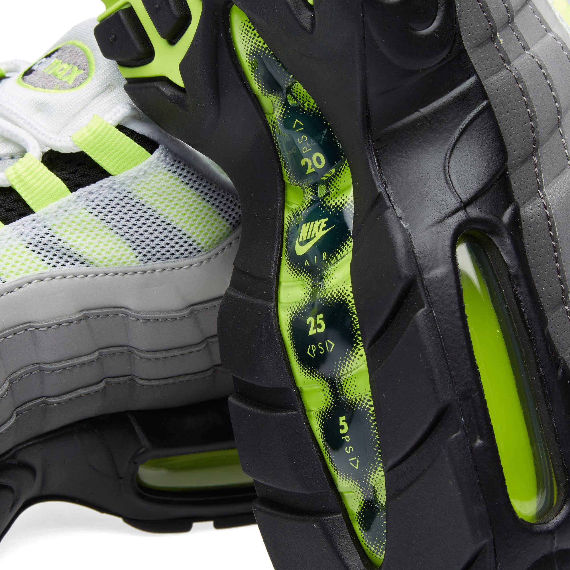 uk availability acc5f 56f36 Nike Air Max 95 OG Premium Leather  Reflective  Black, Volt   Medium Ash    END.