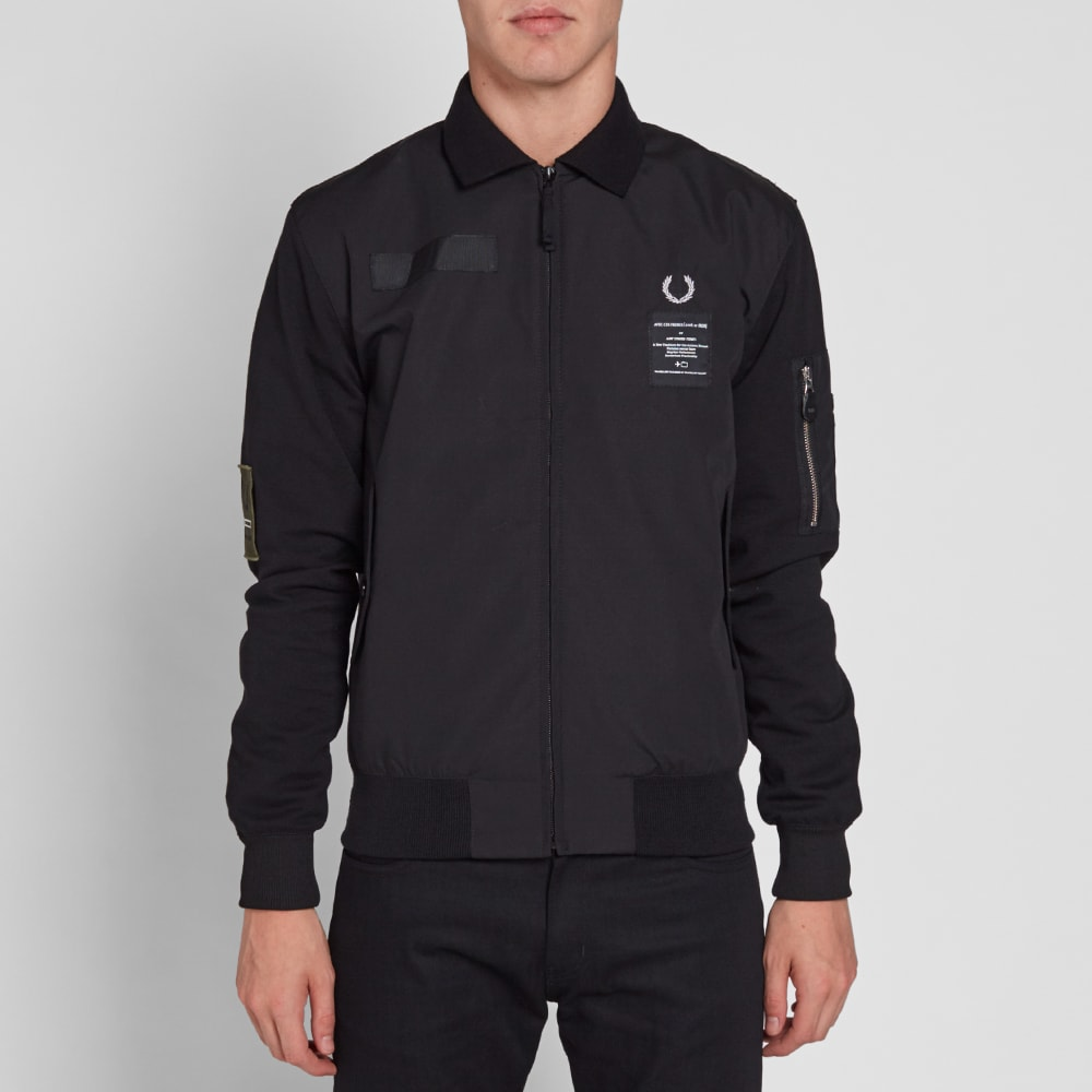 fred perry x art comes first contrast sleeve harrington jacket black. Black Bedroom Furniture Sets. Home Design Ideas