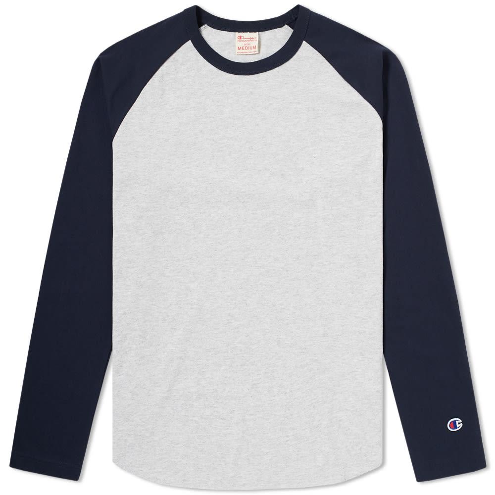 0159fe6b Champion Reverse Weave Classic Baseball Tee Heather Grey & Navy | END.