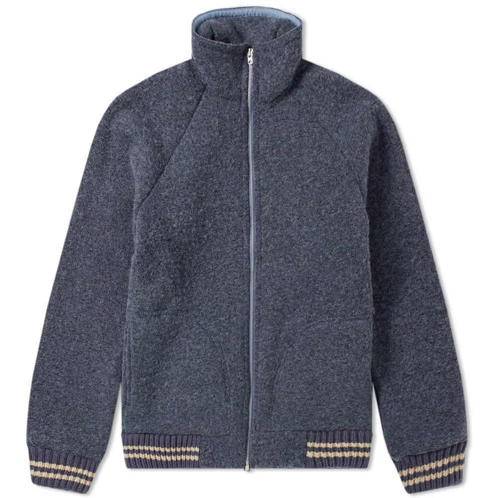NIGEL CABOURN Nigel Cabourn X Peak Performance Wool Fleece Zip Jacket in Blue