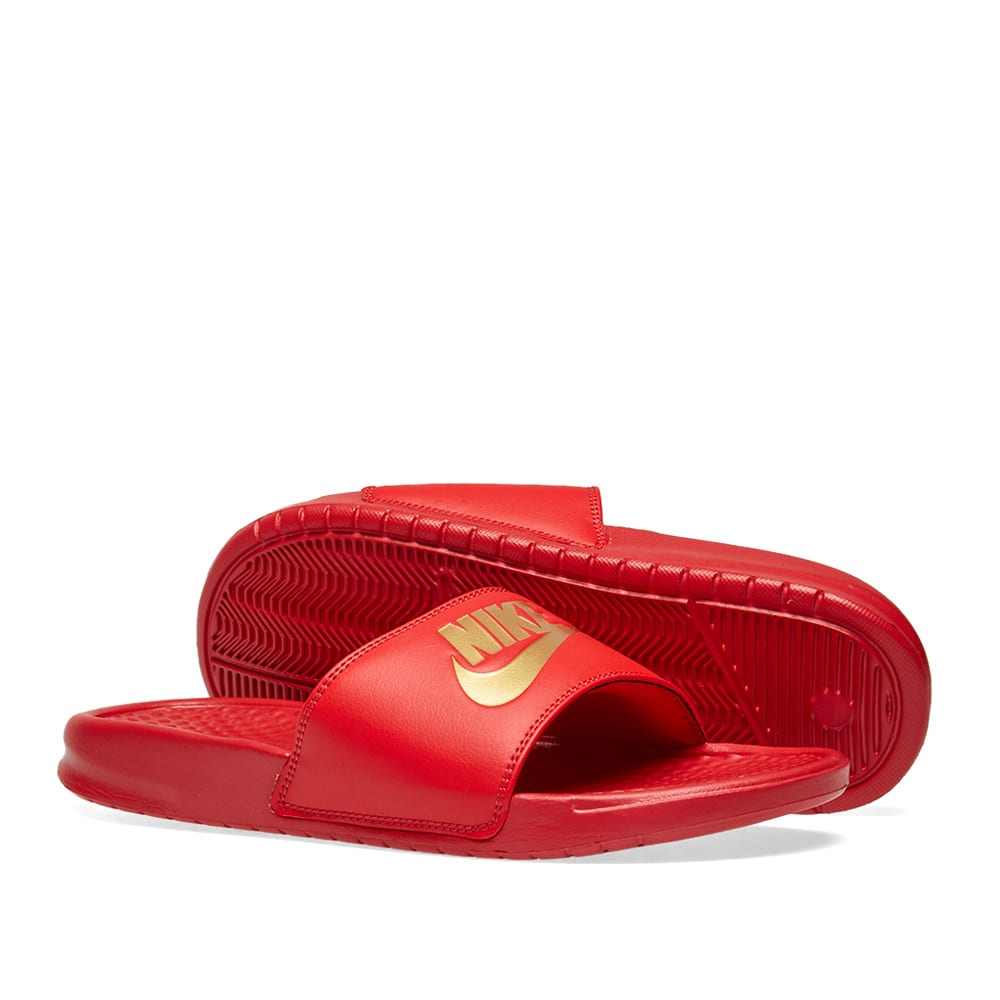 maroon and gold nike sandals