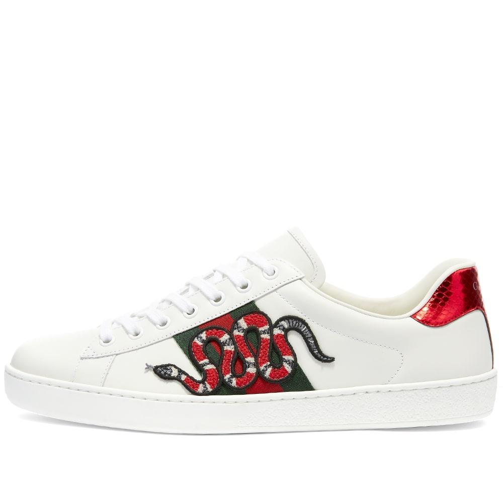 Gucci New Ace GRG Snake Sneaker White