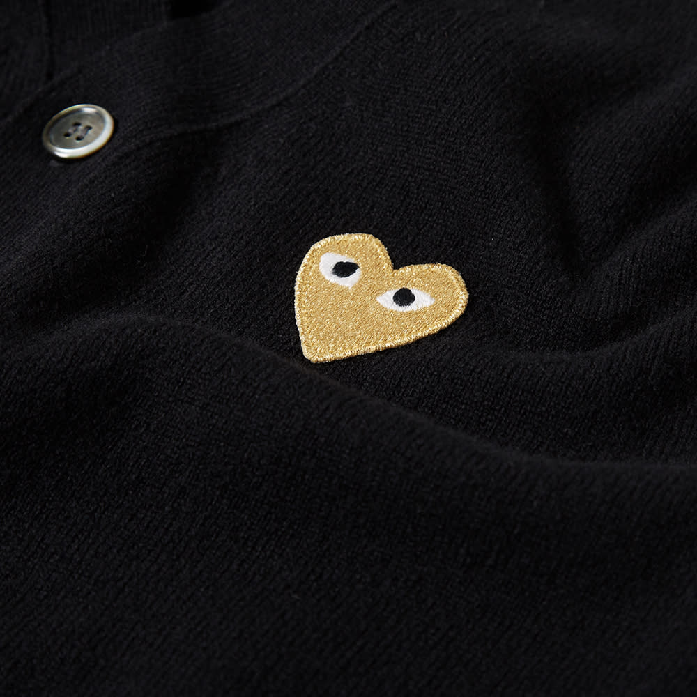 Comme Des Garcons Play Gold Heart Cardigan