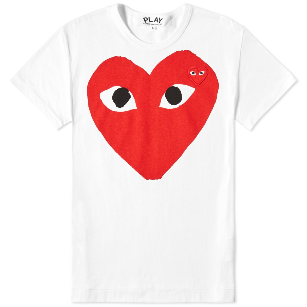 2305dfd51 Comme des Garcons Play Women's Double Heart Logo Tee White & Red   END.