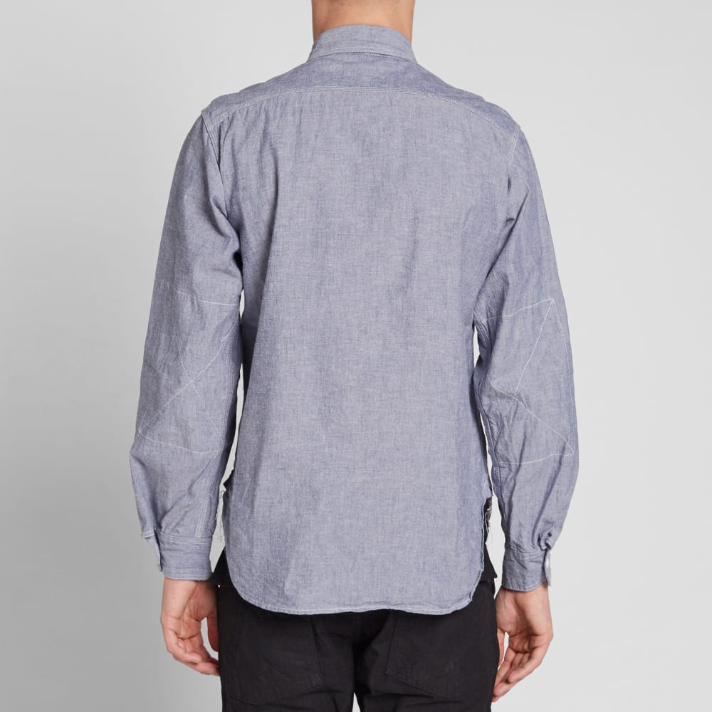 Engineered garments work shirt blue cotton chambray for Blue cotton work shirts