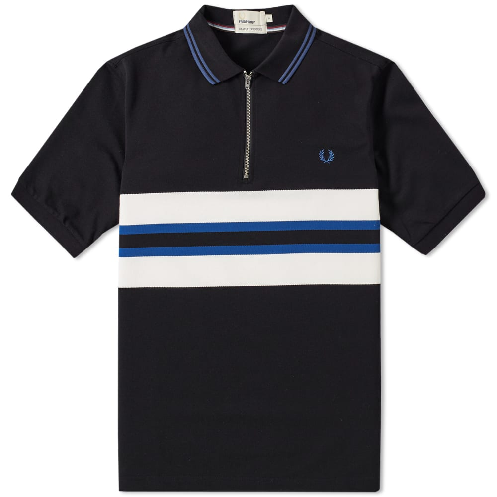 fred perry bradley wiggins bomber stripe polo black. Black Bedroom Furniture Sets. Home Design Ideas