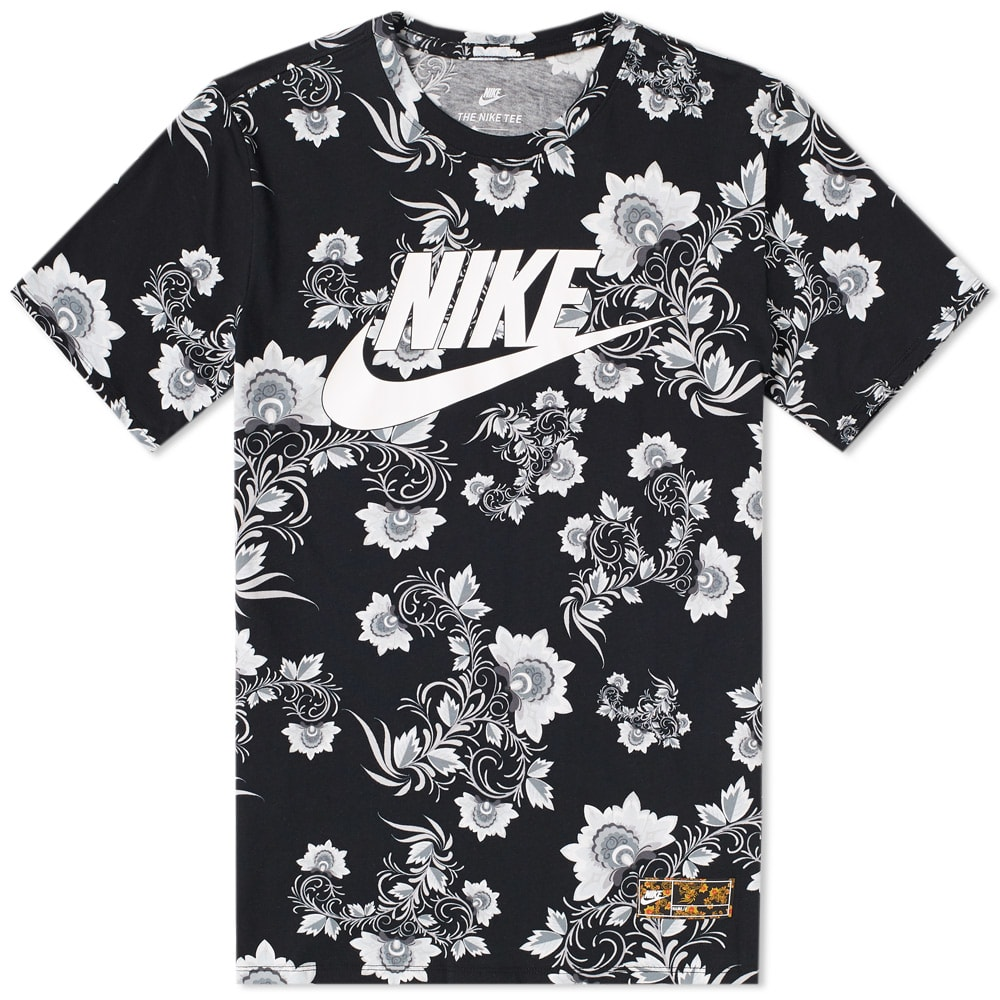 Nike Floral Tee Black White End