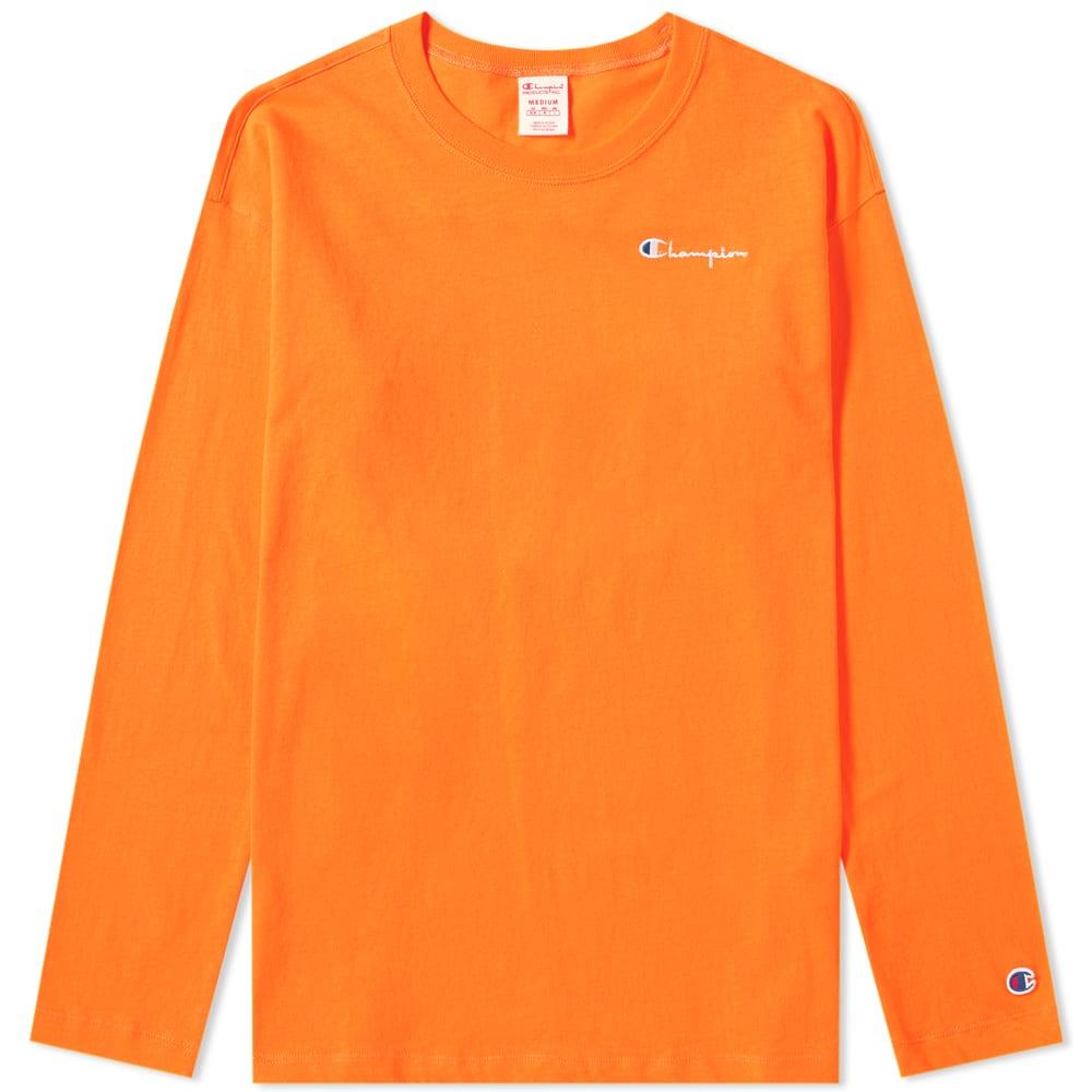 c16da77f Champion Reverse Weave Women's Long Sleeve Small Script Logo Tee Orange |  END.