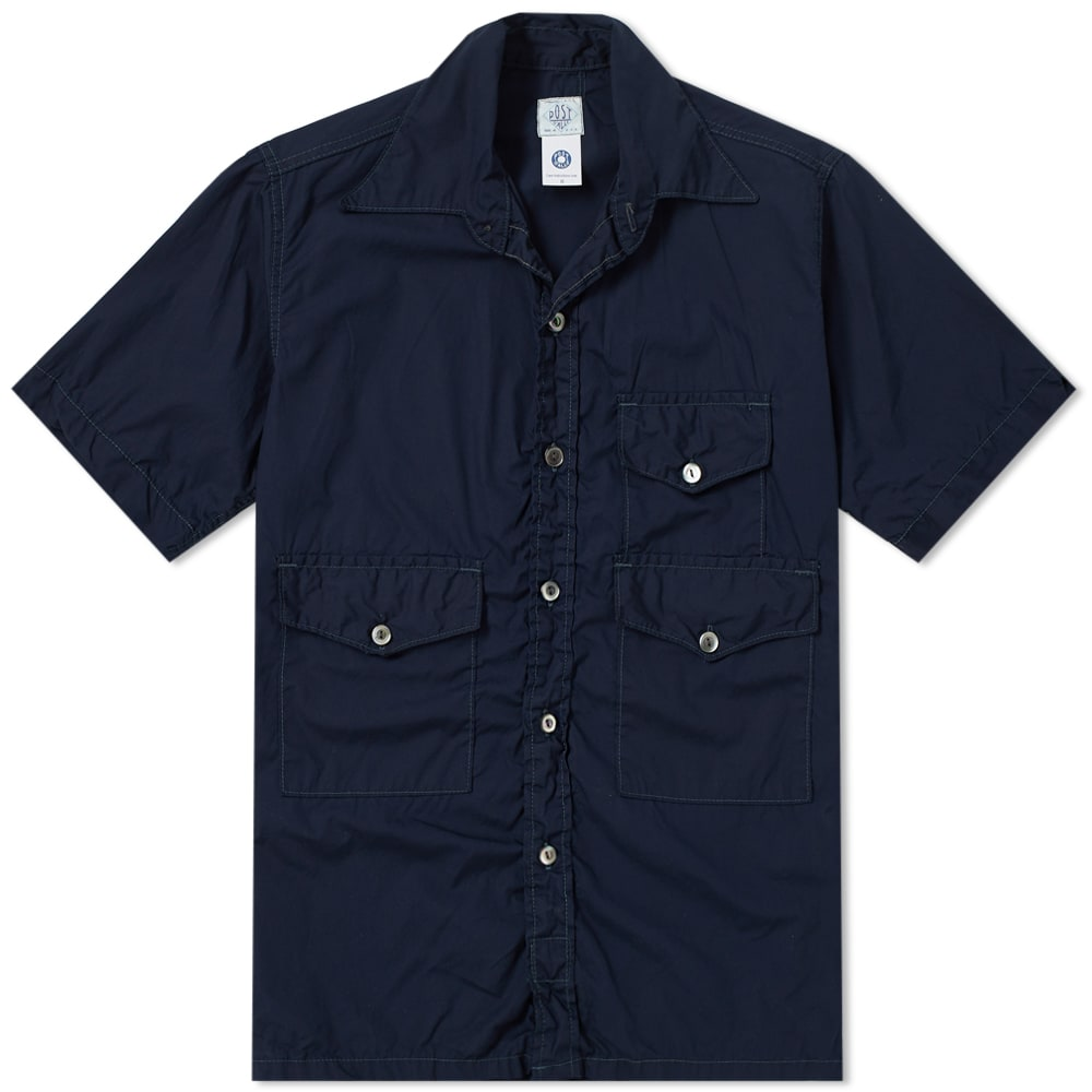 POST OVERALLS SHORT SLEEVE TOWN & COUNTRY CONTRAST STITCH SHIRT