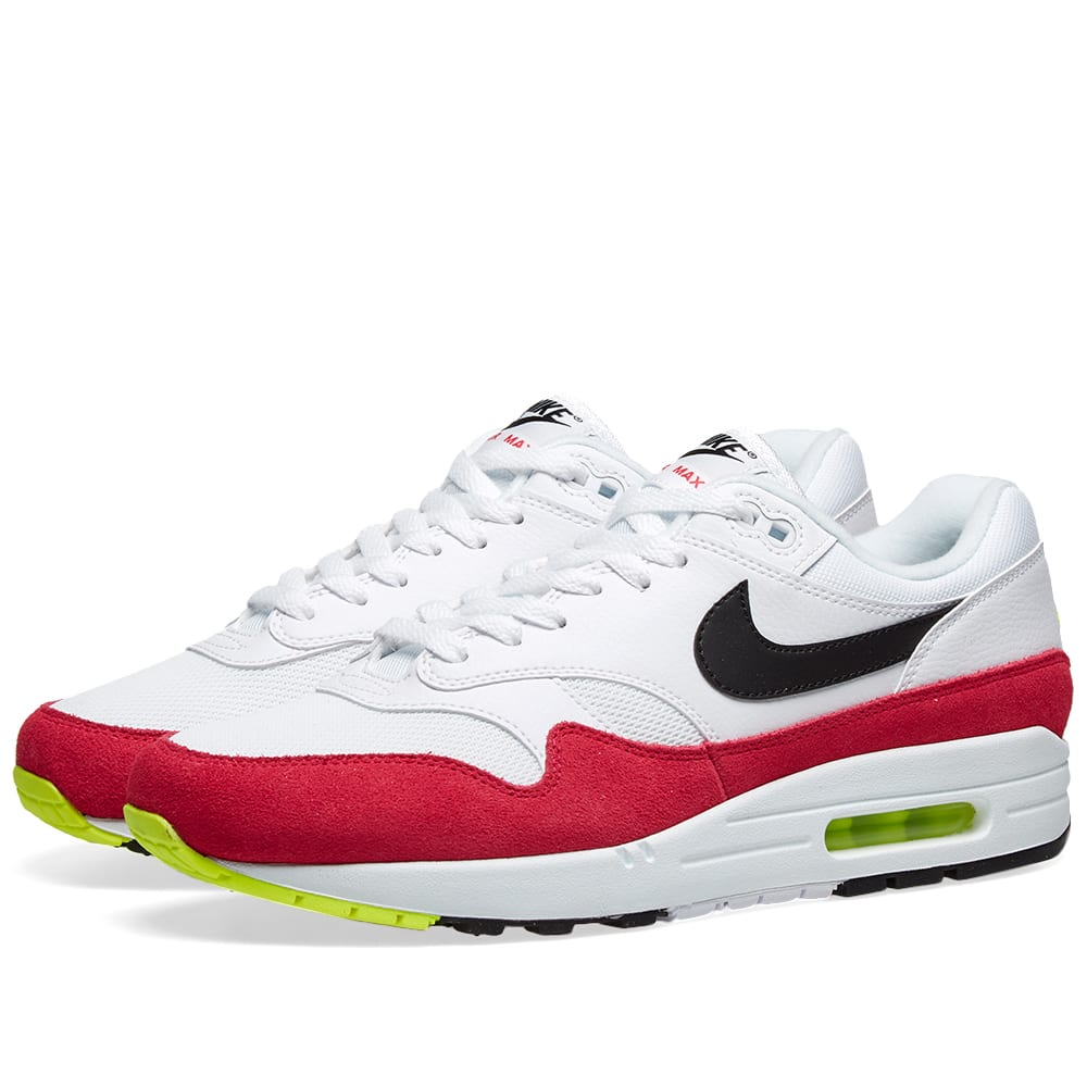 huge discount edffa c9fb6 Nike Air Max 1 White, Black, Volt   Rush Pink   END.