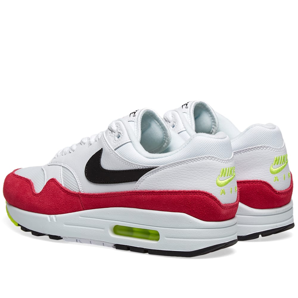 Details about New 2019 Nike Air Max 1 White Black Volt Rush Pink UK 7 11 EUR 41 46 AH8145 111