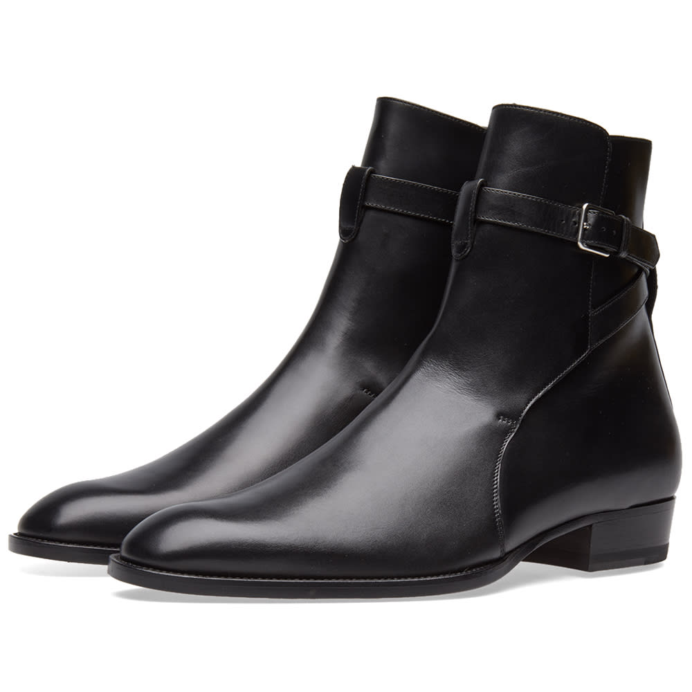 Saint Laurent Wyatt 30 Buckle Boot (Black Leather)