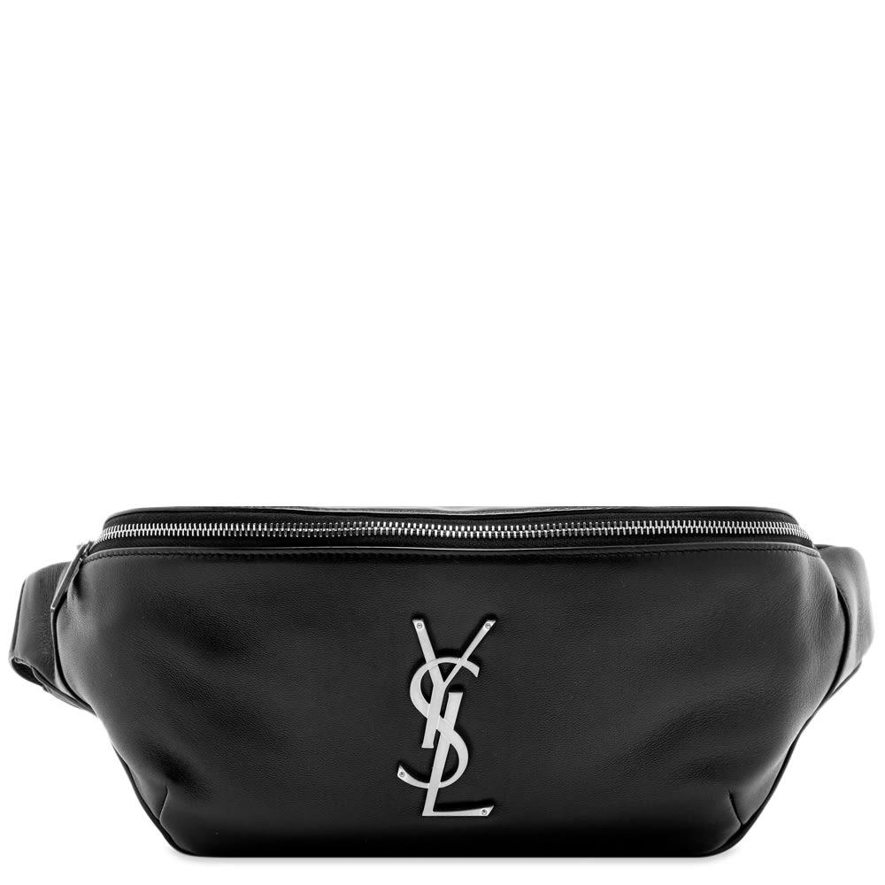 dba19c15966 Saint Laurent YSL Metal Logo Leather Waist Bag Black | END.