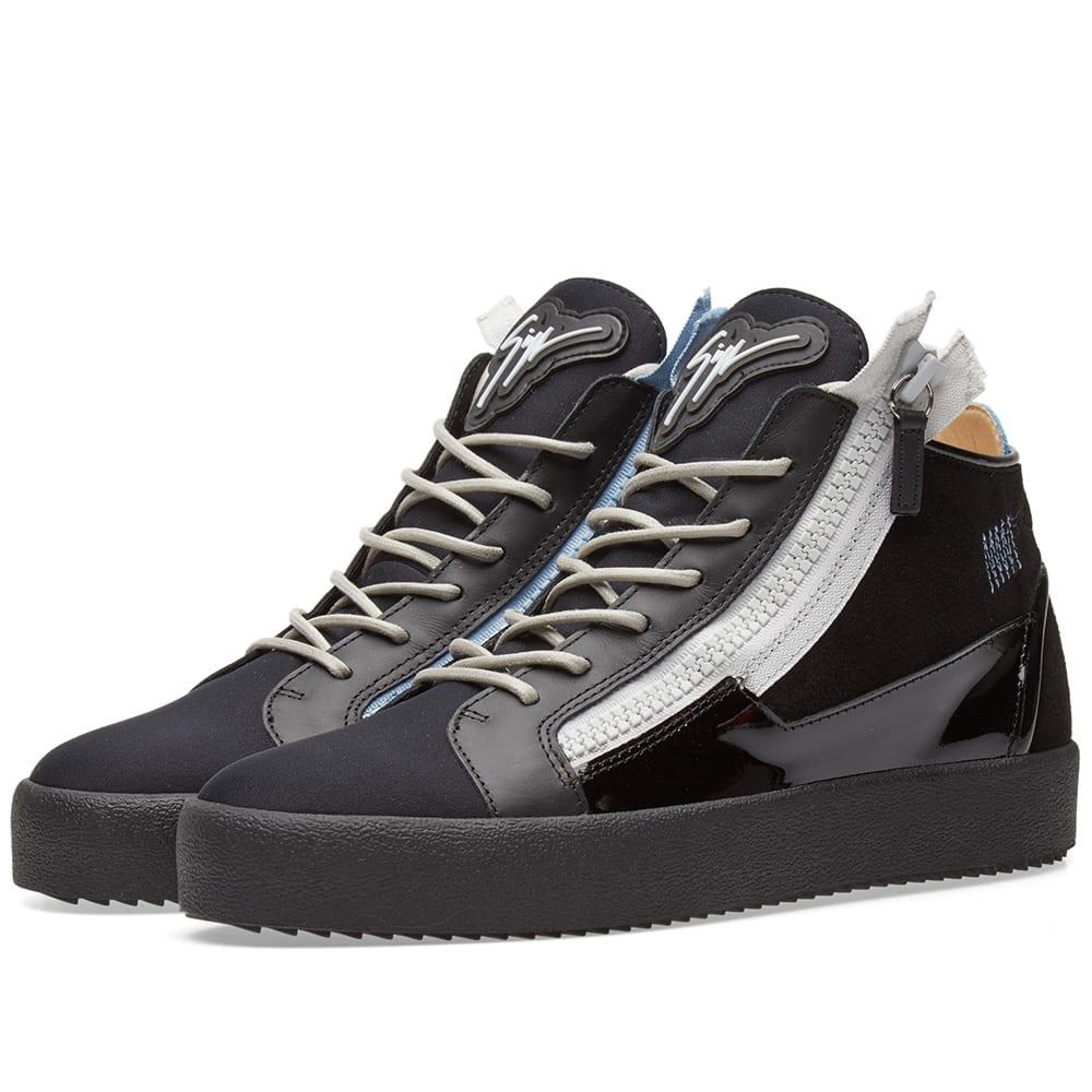 7b1abc5e785a Giuseppe Zanotti Double Zip Deconstructed Mid Sneaker In Black ...