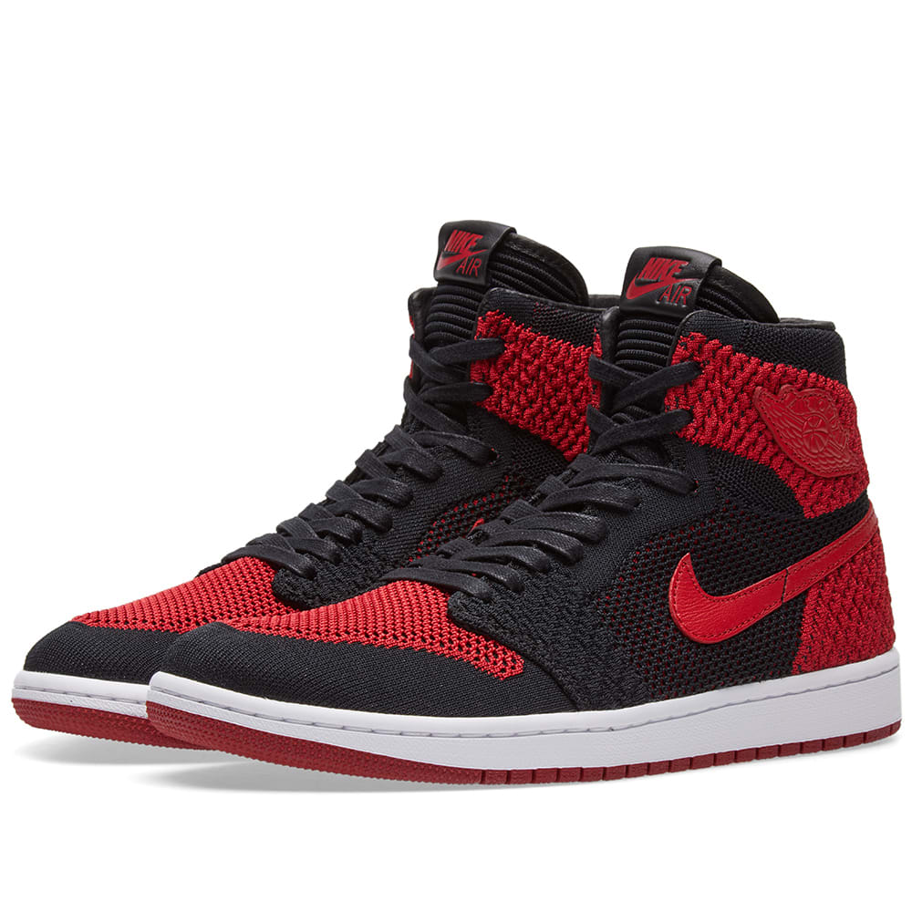 928fae11d9c Nike Zoom Air Jordan 1 Retro High Flyknit. Black, Varsity Red ...