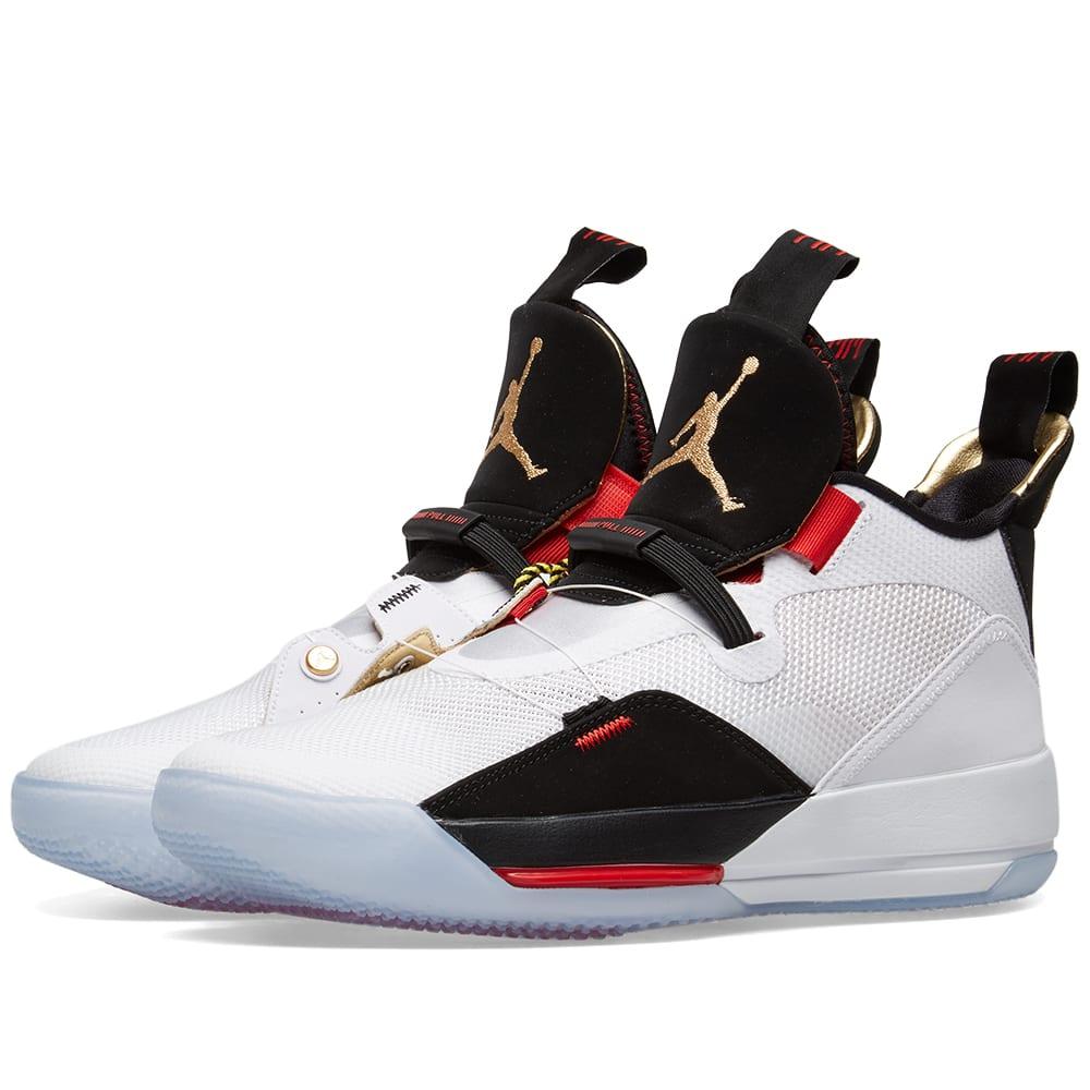 Air Jordan XXXIII White, Gold, Black