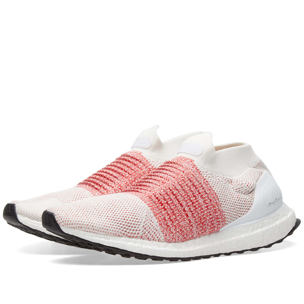eea500a5404 Adidas Ultra Boost Laceless White   Trace Scarlet