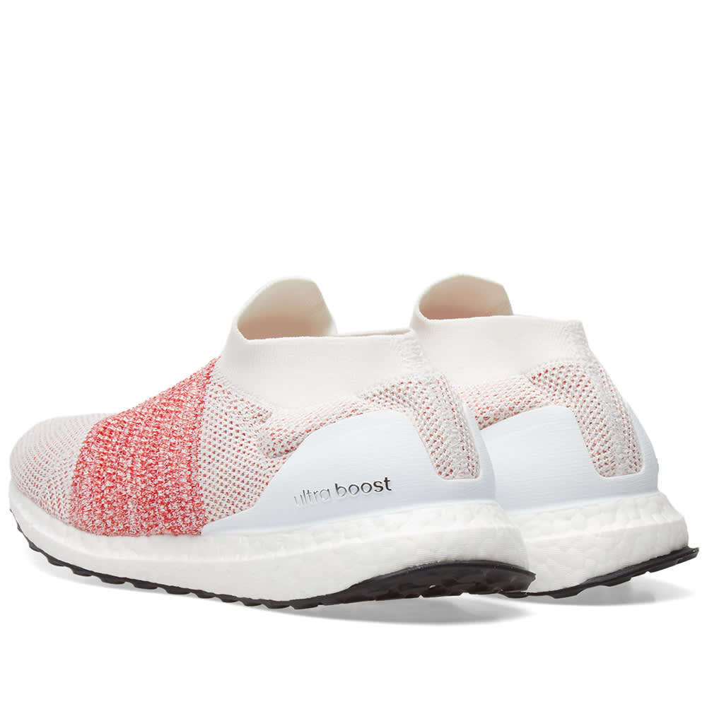 11813a24d6bcc Adidas Ultra Boost Laceless White   Trace Scarlet