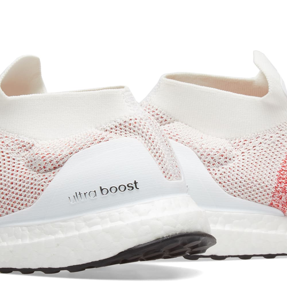 620b310f7 Adidas Ultra Boost Laceless White   Trace Scarlet