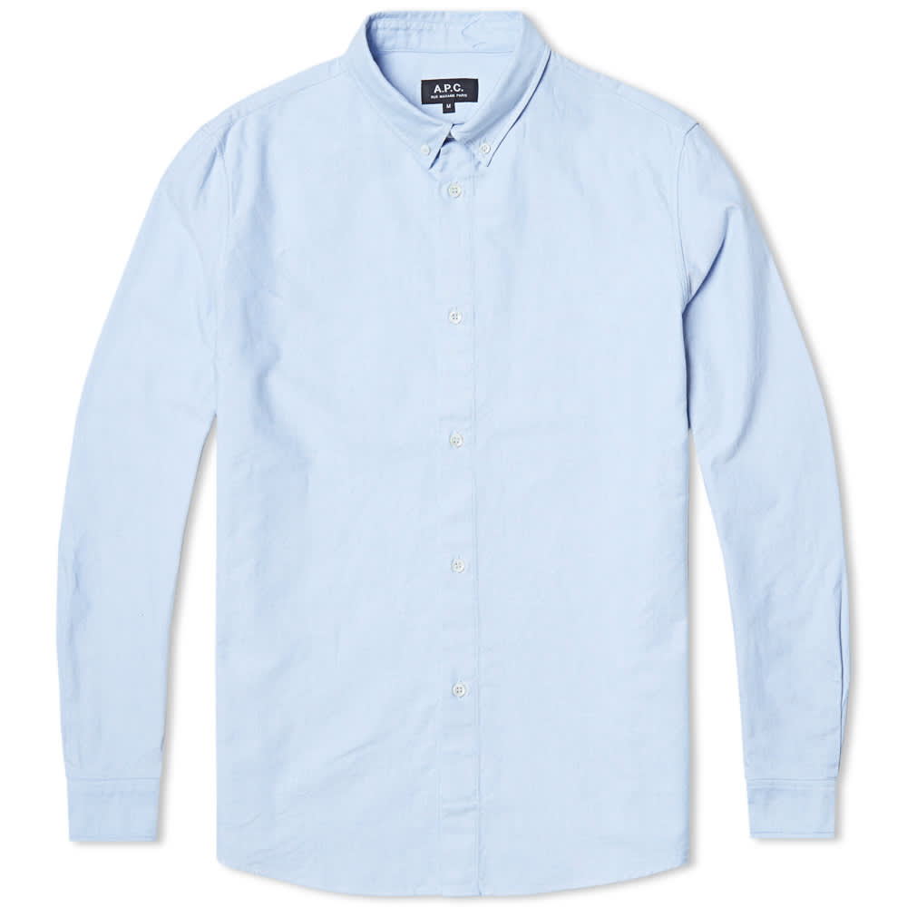 A p c oxford button down shirt light blue for Light blue button down shirt