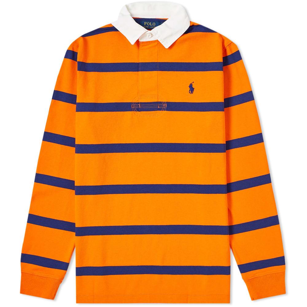 6ceeddc9 Polo Ralph Lauren Long Sleeve Striped Rugby Shirt Sailing Orange & Yale Blue  | END.