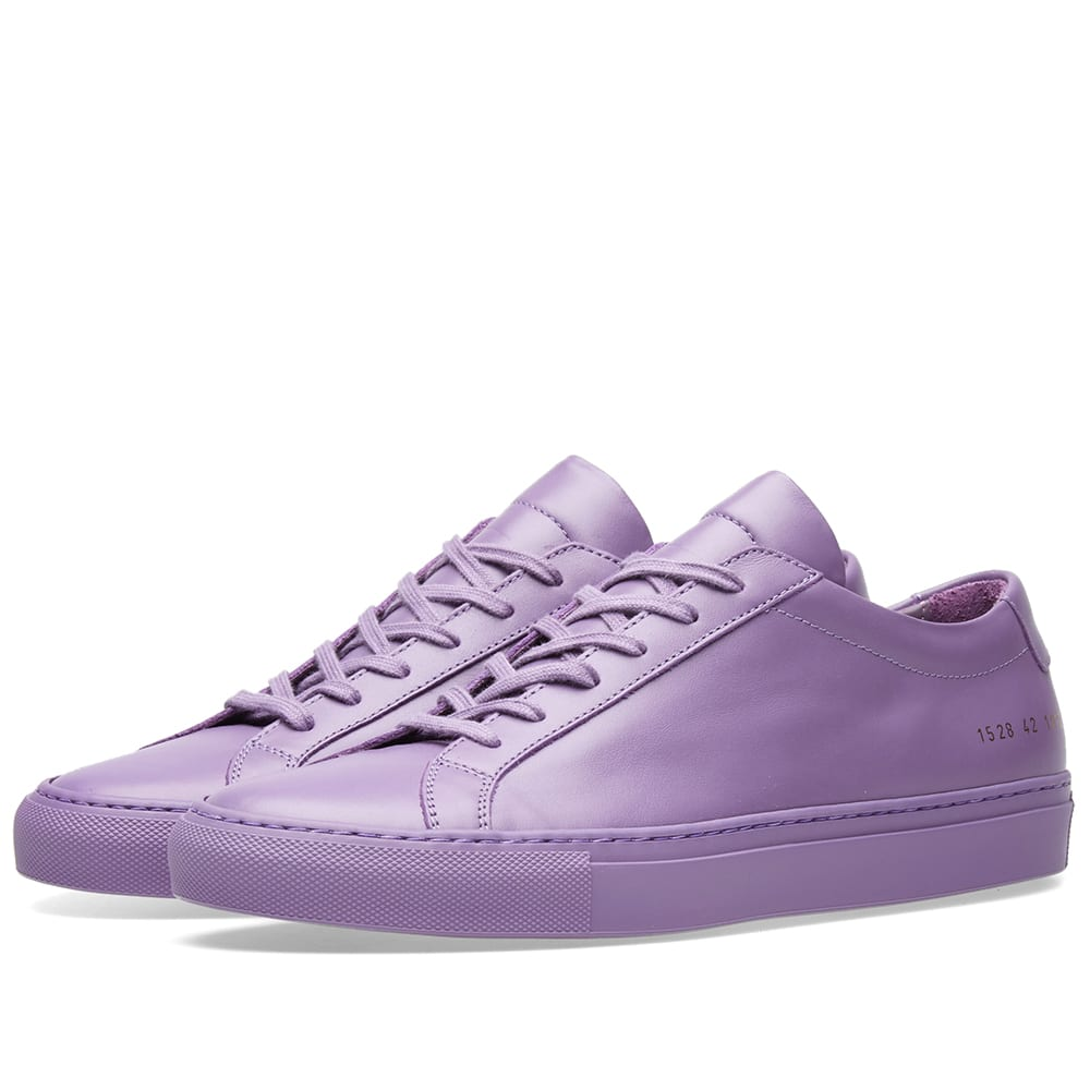COMMON PROJECTS PURPLE ACHILLES LEATHER SNEAKERS