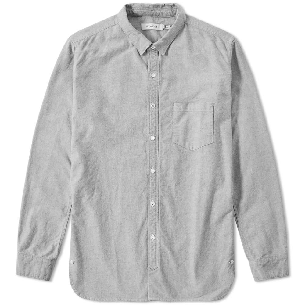 Nonnative button down dweller oxford shirt black for Black oxford button down shirt
