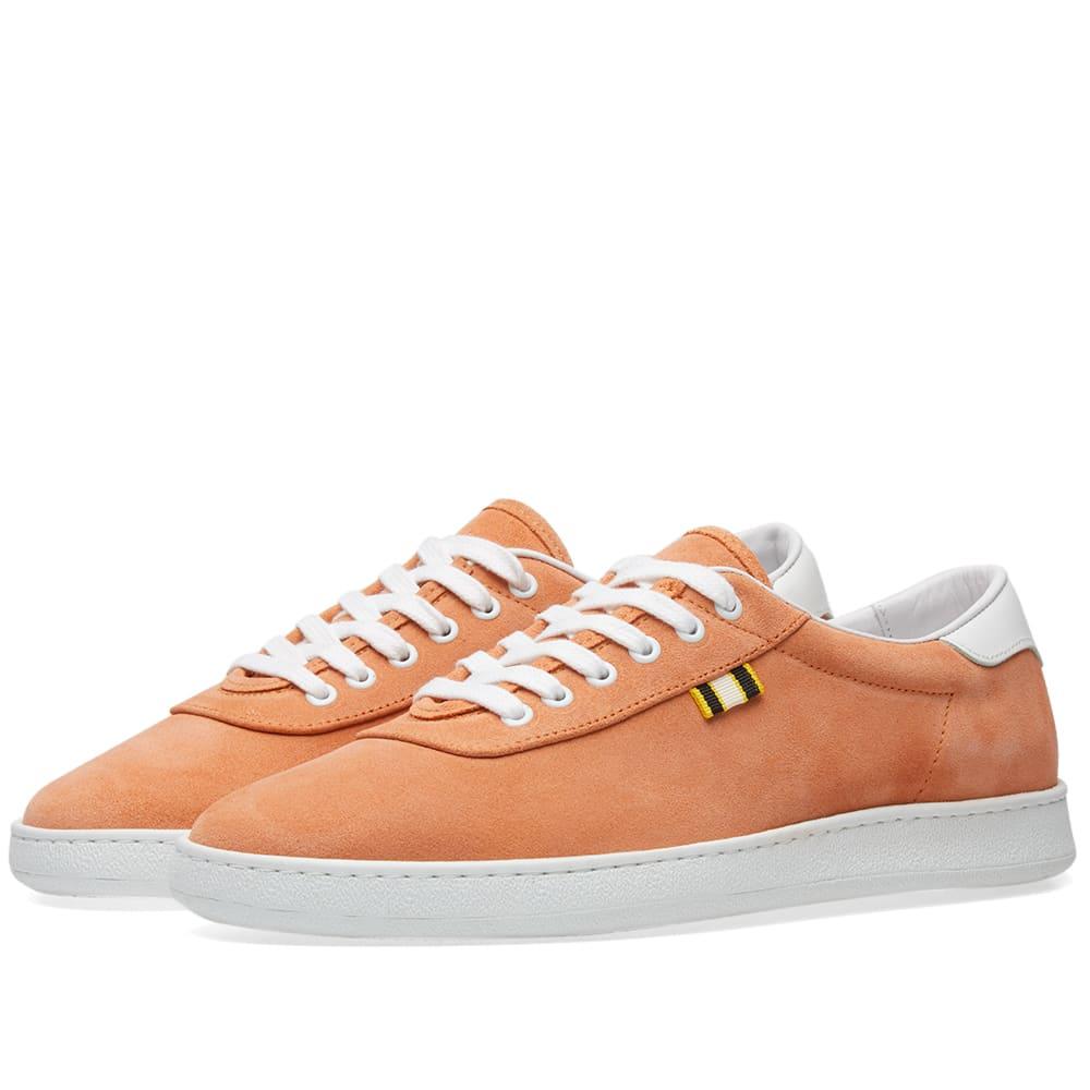 Leather-trimmed Suede Sneakers - PeachAprix qt80qO5