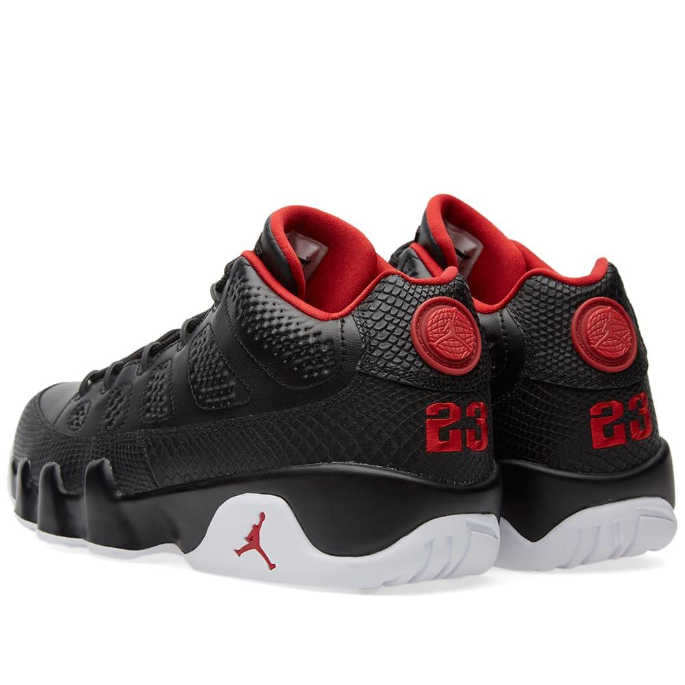 Nike Air Jordan 9 Retro Low (Black, Gym Red & White)Jordan 9 Black And Red And Silver
