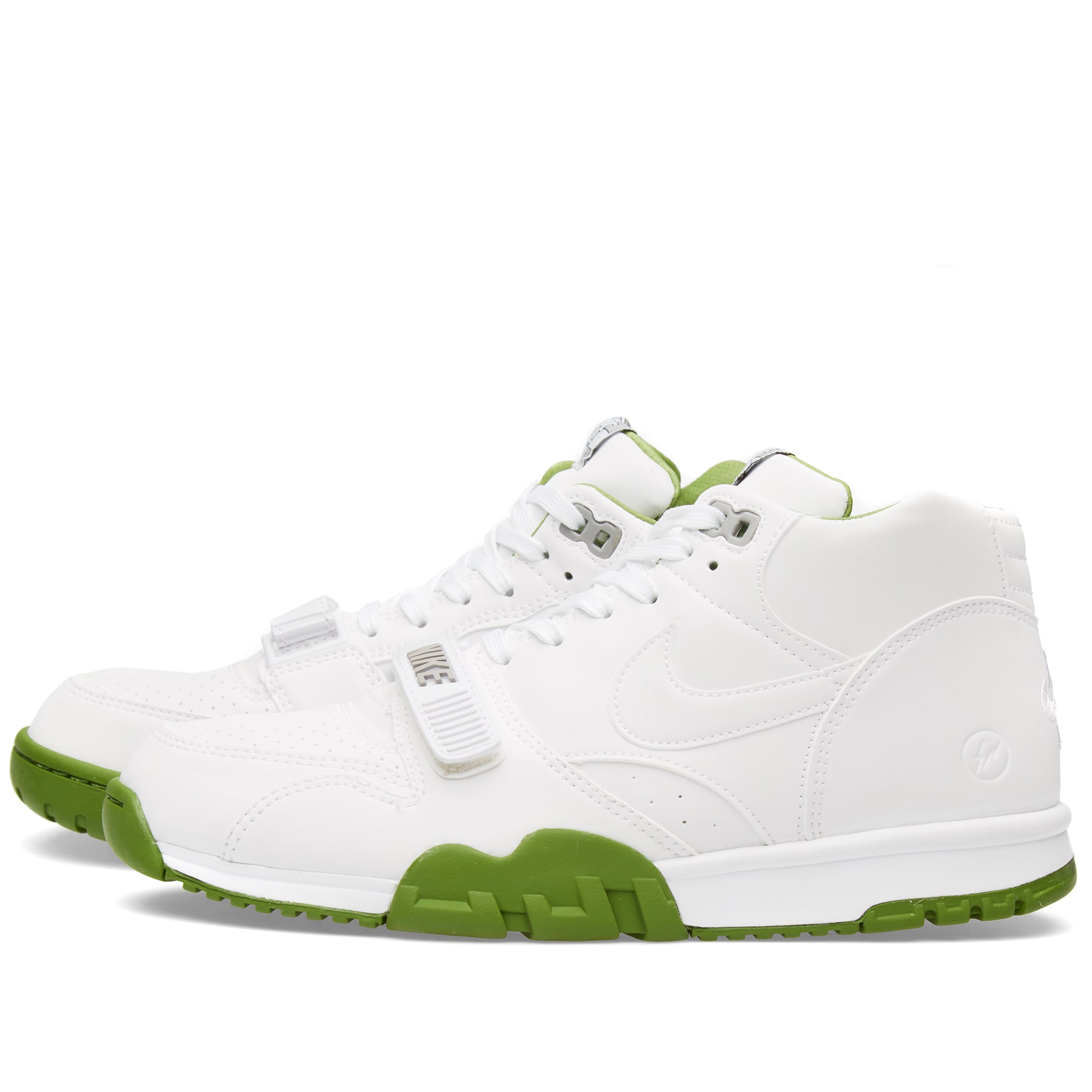 brand new c4c83 06bf7 Nike x Fragment Design Air Trainer 1 Mid SP White & Chlorophyll | END.