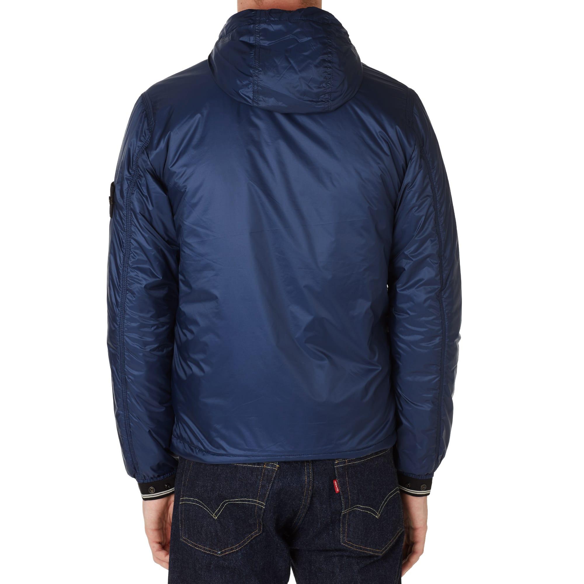 stone island micro ripstop navy blue hooded jacket -