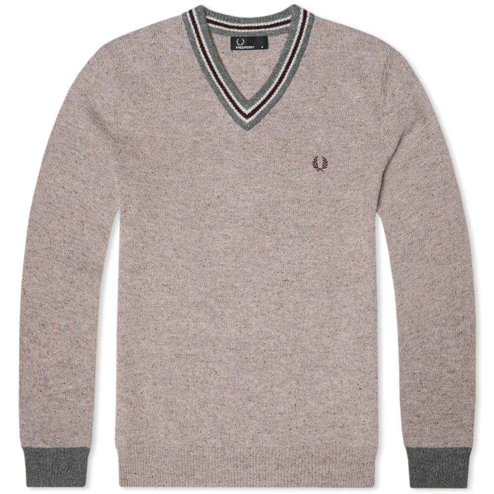 Fred Perry Fleck Knit Tennis Sweater (Oatmeal Marl)