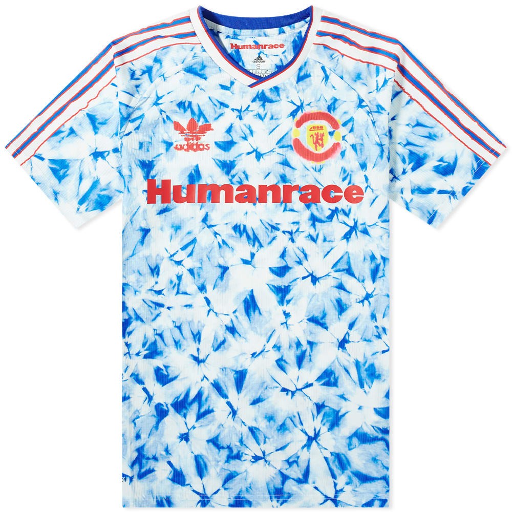 Adidas Manchester United X Human Race Football Club Jersey White Blue End