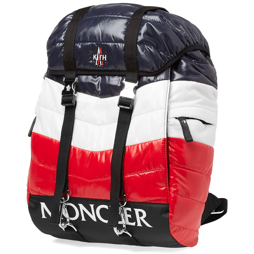 Moncler x Kith Backpack Blue, White & Red | END.
