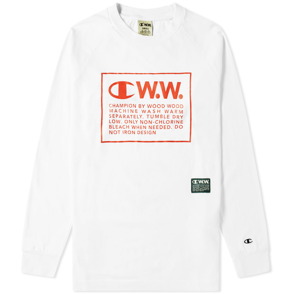 ebd51f60 Champion x Wood Wood Long Sleeve Box Logo Tee White | END.