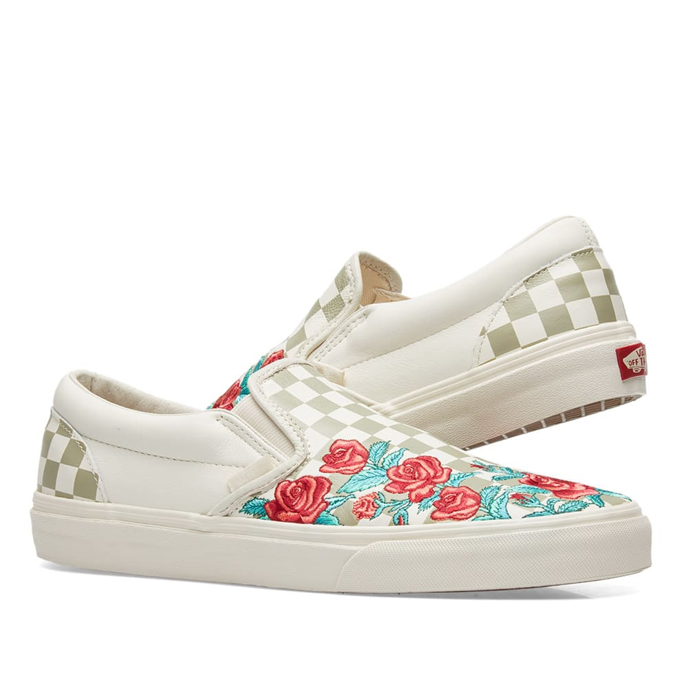 4c194f69a949 Vans Classic Slip On DX Rose Embroidery Marshmallow   Turtledove