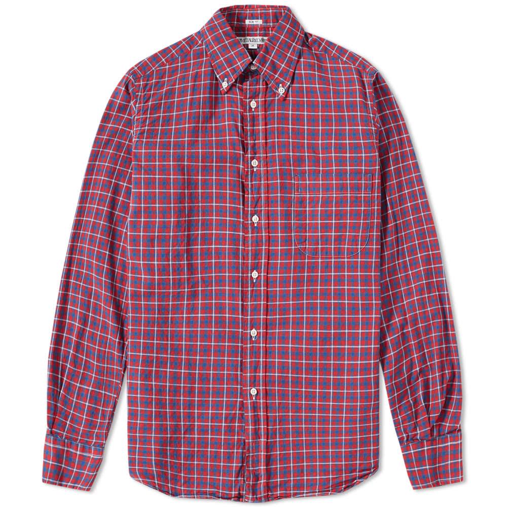 Individualized shirts button down check shirt red white for Red and white button down shirt