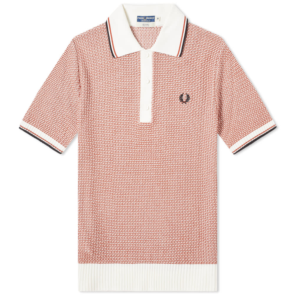 409f5df0 Fred Perry Reissues Two Colour Texture Knit Polo Snow & Paprika | END.