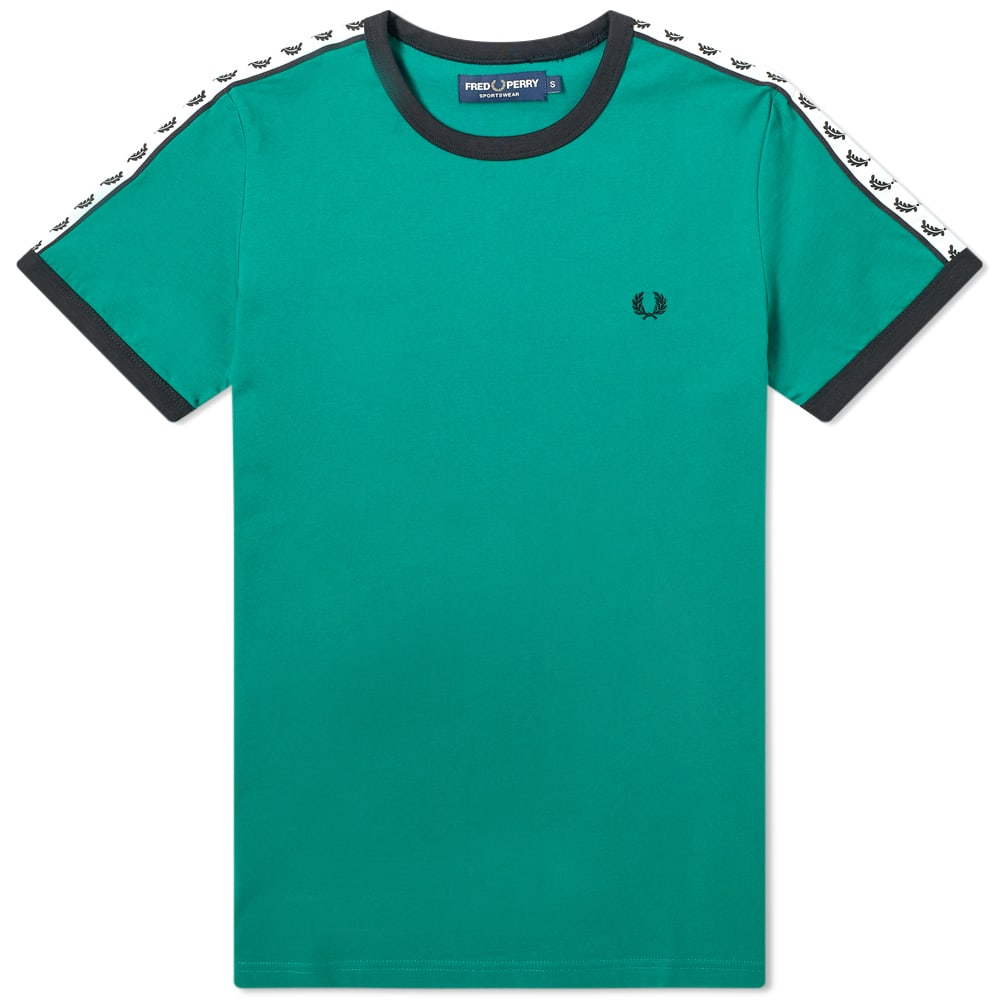 FRED PERRY | Fred Perry Authentic Taped Ringer Tee Pitch Green | Goxip