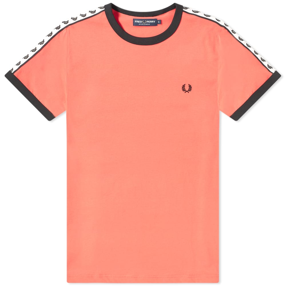 FRED PERRY | Fred Perry Authentic Taped Ringer Tee Tropical Red | Goxip